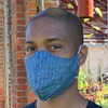 indigo linen face mask with cotton filter large
