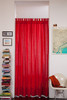 Linoto linen curtains with tab loops in red
