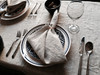 Table set with Linoto linen napkins and linen tablecloth in natural oatmeal