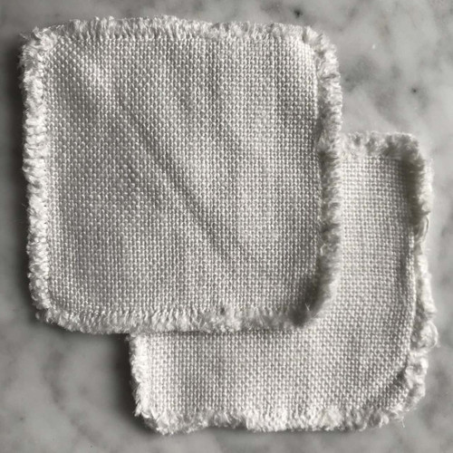 Linen coaster set of two in white Made in USA by Linoto