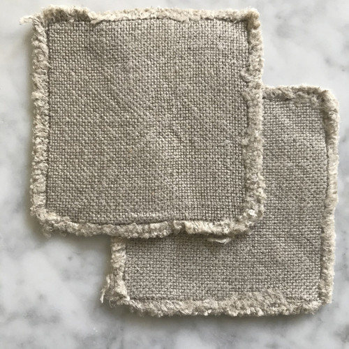 Linen coaster set of two in ecru Made in USA by Linoto