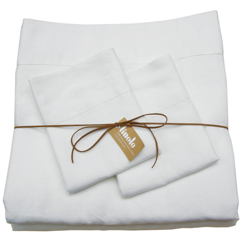 "100% linen sheet set-White Queen 18"" Std Shams"