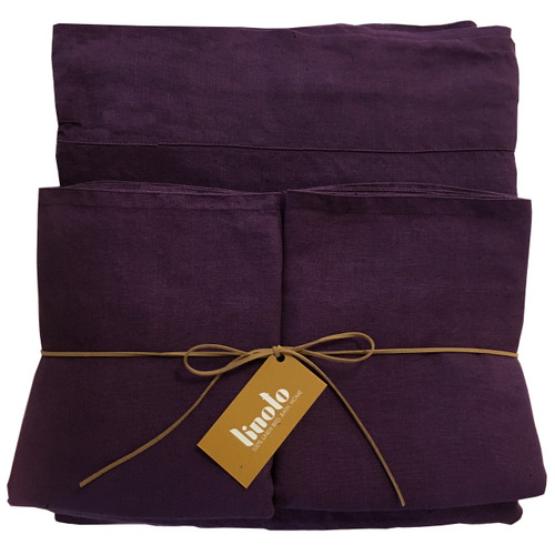 "100% linen sheet set-Aubergine Twin XL 9"" Std Cases"