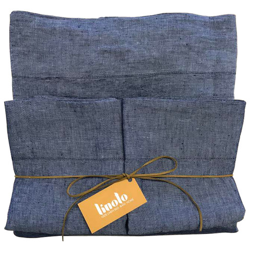 "100% linen sheet set-Indigo Twin 14"" King Shams"