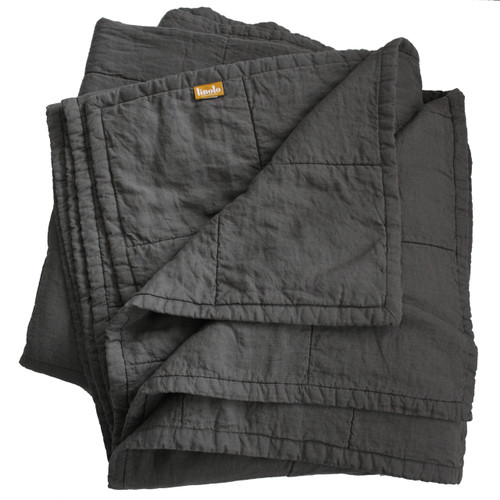 Graphite Quilted Linen Coverlet