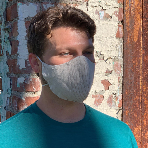 Male linen face mask large natural
