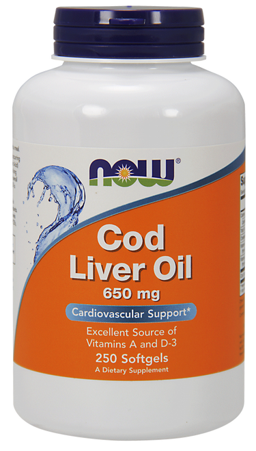 Now Foods Cod Liver Oil 650 mg 250 Softgels #1742