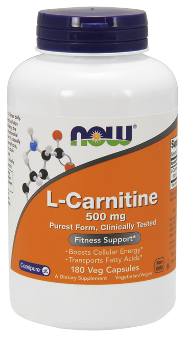 Now Foods L-Carnitine 500 mg 180 Vegetarian Capsules #0073