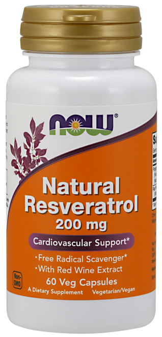 Now Foods Natural Resveratrol 200 mg 60 Vegetarian Capsules #3353