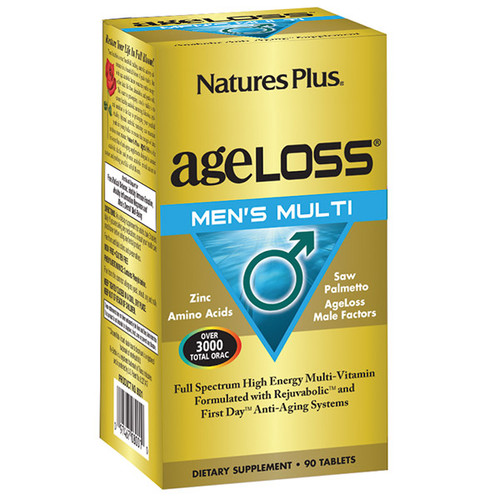 Nature's Plus Ageloss Men's Multi 90 Tabs #8001, Men age in different ways and at different rates than women. That's why men require gender-specific nutritional support for age-defying vitality.