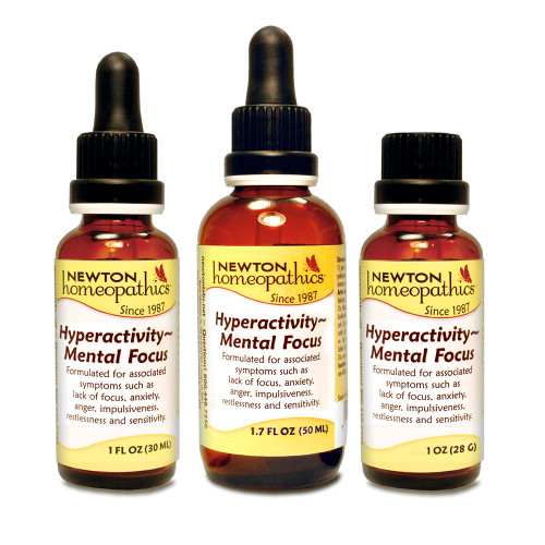 Newton Labs Homeopathics Hyperactivity Mental Focus 1oz or 1.7oz Liquid or Pellets, symptoms such as lack of focus, anxiety, anger, impulsiveness, restlessness and sensitivity.