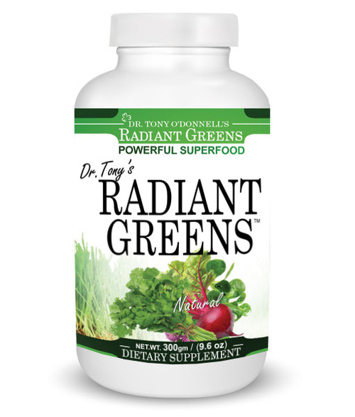 Dr. Tony's Radiant Greens – Natural 9.6oz 300gm, Dr. Tony's Radiant Greens is a powerful NON-GMO super food formulation of organically grown grasses and vegetables, blood purifying and immune enhancing herbs, and antioxidants.