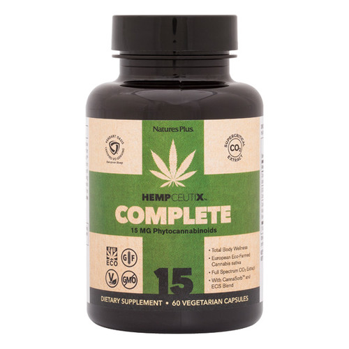 HempCeutix Complete Cannabis 15mg 60VC - Free Shipping, Total Body Wellness, European-Grown, Eco-Farmed Cannabis sativa, Full Spectrum CO2 Extract With CannaSorb and ECS Blend