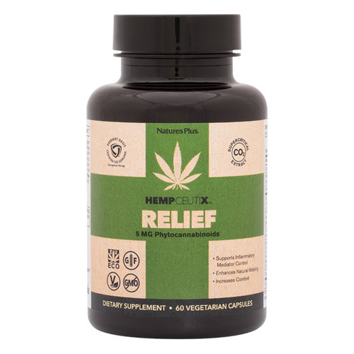 HempCeutix Relief Cannabis 5mg 60VC - Free Shipping, Verdant Oasis, European-sourced Cannabis Sativa, Standardized to deliver 5 mg of full-spectrum phytocannabinoids, AmLexin Powerful acacia and mulberry actives promote inflammatory mediator control,   200 mg standardized Boswellia promotes natural control of enzymatic inflammatory processes, Longvida  optimized curcumin supports inflammation control with unparalleled activity,  CannaSorb Proprietary blend to maximize phytocannabinoid absorption,  ECS Blend Clove, Rosemary, Oregano, Carrot and Flax deliver natural support to tone the body's ECS
