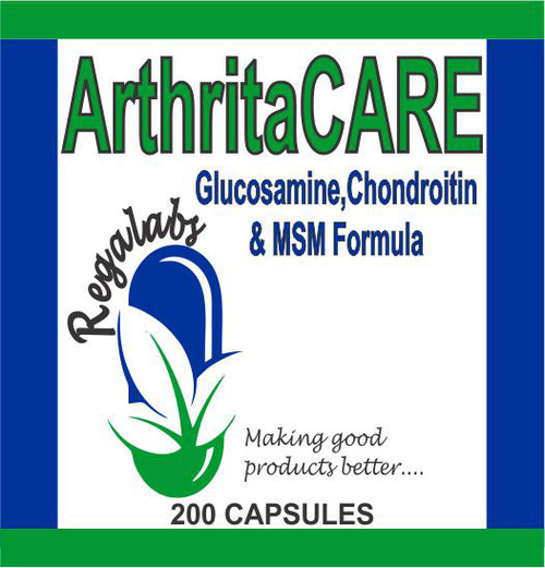 Regalabs ArthritaCARE 200 Capsules, ArthritaCARE is a Glucosamine, Chondroitin, and MSM Formula that helps rebuild and lubricate joints.