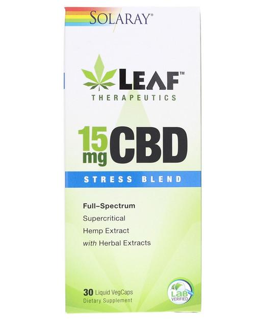 Solaray CBD 15 Mg Stress Blend 30 Liquid Veg Capsules