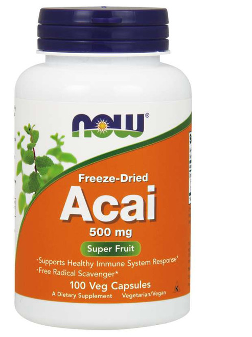 Now Foods Acai 500 mg Veg Capsules, Freeze-Dried, Supports Healthy Immune System Response, Free Radical Scavenger.