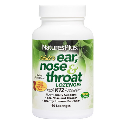 Nature's Plus Adult's Ear, Nose & Throat Lozenges with K12 Probiotics - Tropical Cherry Berry Flavor #49254