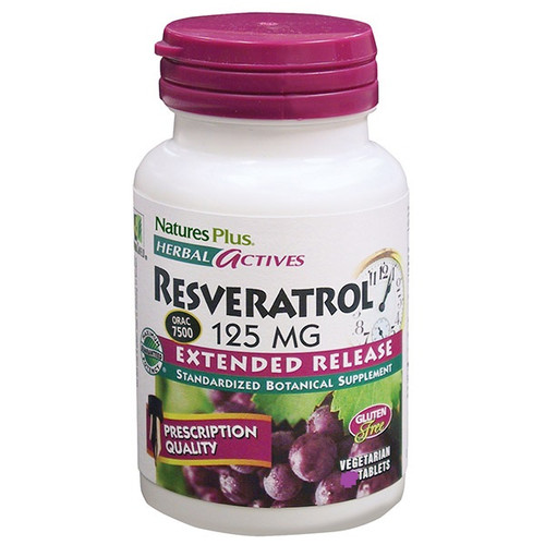 Nature's Plus Herbal Actives Resveratrol 125 mg Extended Release 120 Tablets #7371
