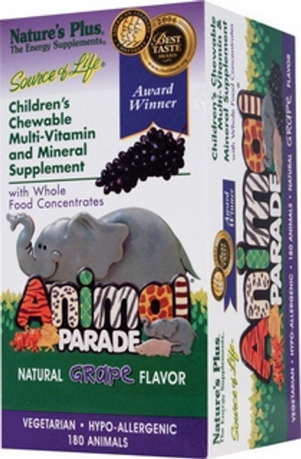 Nature's Plus Source of Life Animal Parade Grape 180 Chewables #29986