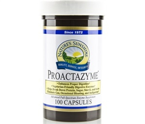 Nature's Sunshine Proactazyme Plus 100 Capsules #1525-0, Assists with the body's natural digestion process, Powerful, yet gentle plant-based enzyme formula, May help with gas-related gastrointestinal discomfort