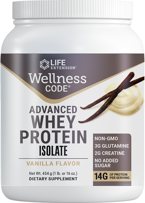 Life Extension Wellness Code Advanced Whey Protein Isolate Vanilla P65 454 g