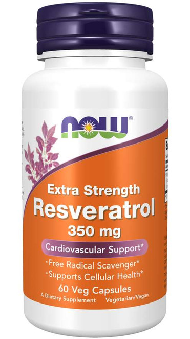 Now Food Resveratrol, Extra Strength 350 mg Veg Capsules, Resveratrol is a polyphenol naturally found in the skin of red grapes, certain berries, and other plants.