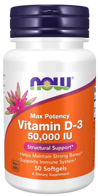 Now Food Vitamin D-3 50,000 IU 50 Softgels, Max Potency, Helps Maintain Strong Bones, Supports Immune System.