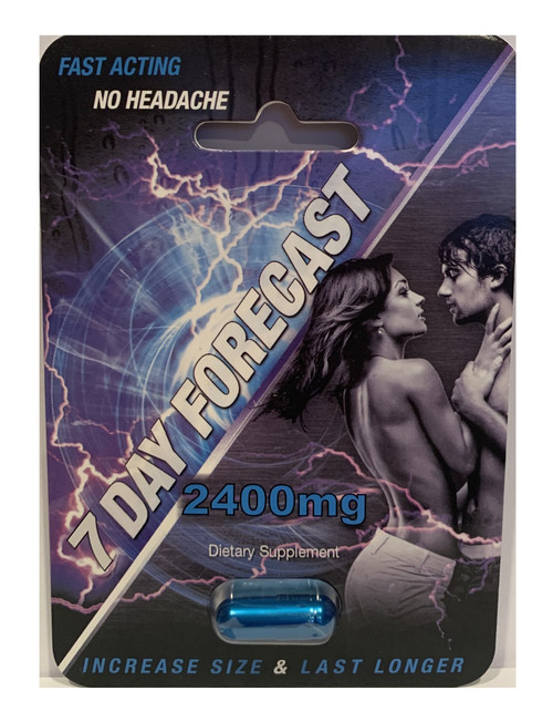 7 Day Forecast 2400mg For Men, Fast Acting, No Headaches, Serving size: 1 capsule, Ingredients: Tribulus, Cordyceps Militaris, Cnidimum, Monnier Extract, Theobromine, Rhodioia, Daily values not established, Directions: Take one capsule half hour prior to sexual intercourse