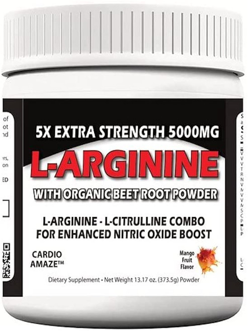 5X Extra Strength L-Arginine 5000mg, Workout Muscle Build Powder, Nitric Oxide Supplement ,Energy & Endurance, 30 Servings
