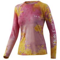Huk Women's Tie Dye Pursuit Long Sleeve Tee-Pink Lady