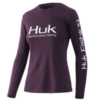 HUK WOMENS'S ICON X LONG SLEEVE- BLACKBERRY- Front