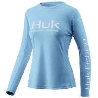 HUK WOMEN'S ICON X LONG SLEEVE- ICE BLUE- Front