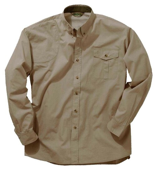 Bob Allen Long Sleeve Mesh Back Shooting Shirt-Khaki