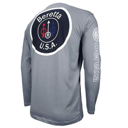 Beretta T-shirt à manches longues avec logo USA - Gris