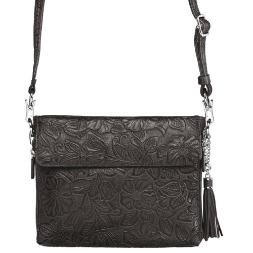 Gun Tote'n Mamas Tooled American Cowhide CCW Purse-Black