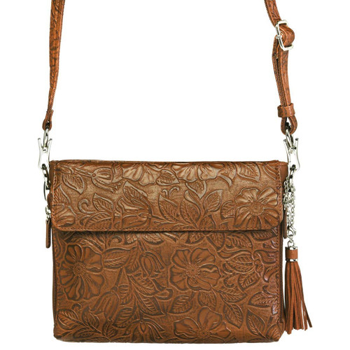 Gun Tote'n Mamas Tooled American Cowhide CCW Purse-Tan