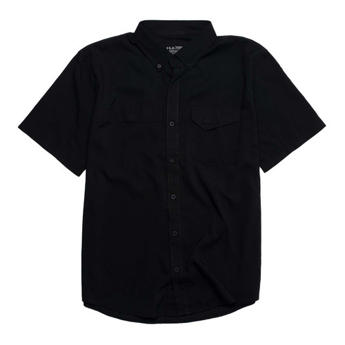 Huk Tide Point Woven Solid Short Sleeve Shirt-Black