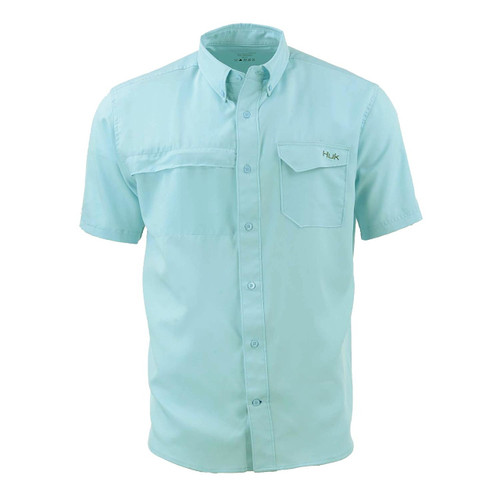 Huk Tide Point Woven Solid Short Sleeve Shirt-Seafoam