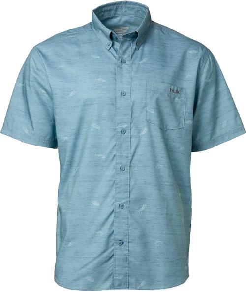 Huk Woven Teaser Short Sleeve Shirt-Silver Blue