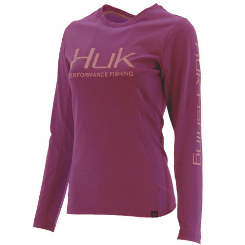 Huk Ladies Icon X Long Sleeve Tee-Maroon