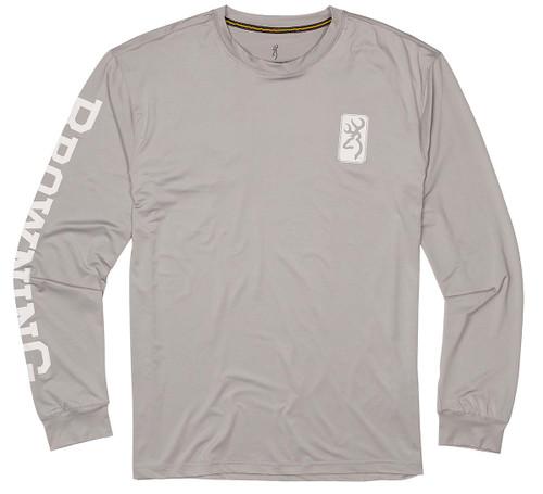 Browning Longe Sleeve Sun Shirt-Gray/White