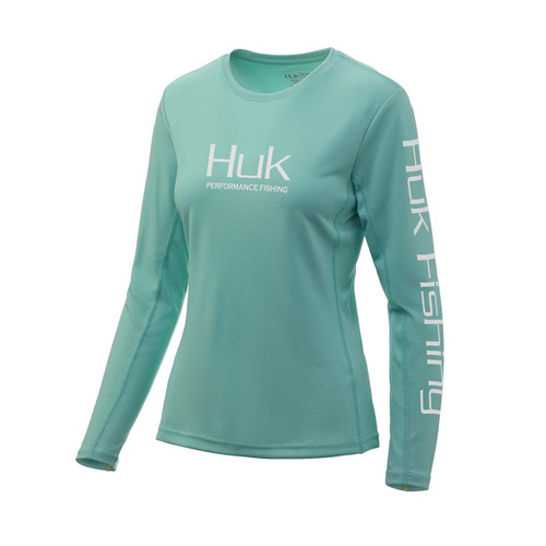 Huk Ladies Icon X Long Sleeve Tee-Bright Teal