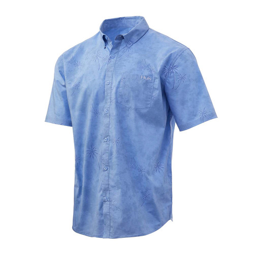 Huk Kona Woven Short Sleeve Shirt-Carolina Blue