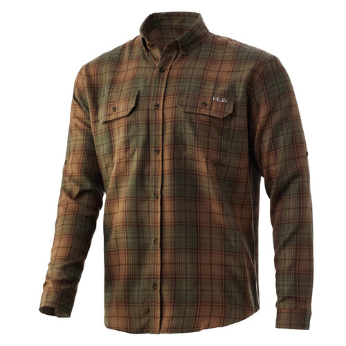Huk Men's Maverick Flannel Shirt-Tiger's Eye
