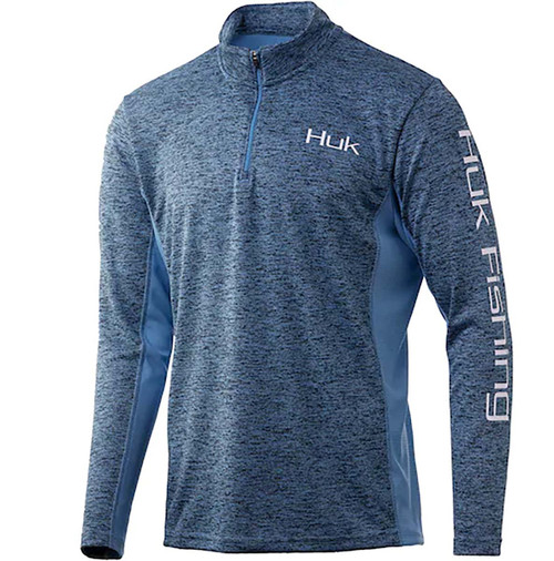 Huk Coldfront Icon X 1/4 Zip-Carolina Blue Heather