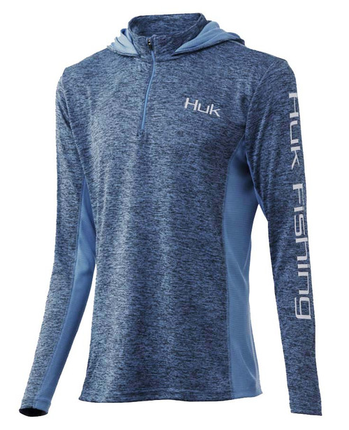 Huk Women's Coldfront Icon X 1/4 Zip-Carolina Blue Heather