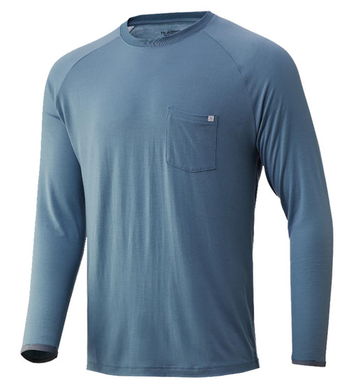Huk Waypoint Long Sleeve Tee-Silver Blue
