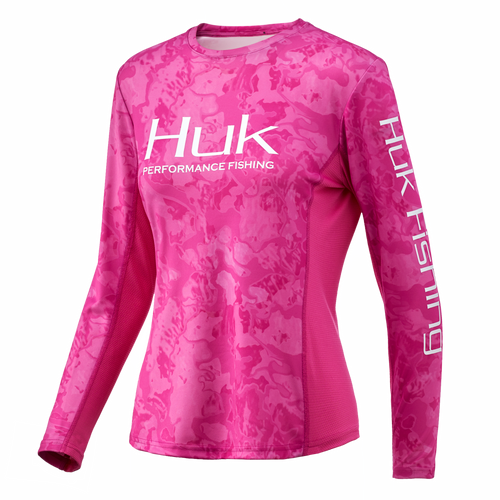 Huk Women's Icon X Camo Long Sleeve Tee-Current Berry Island Camo