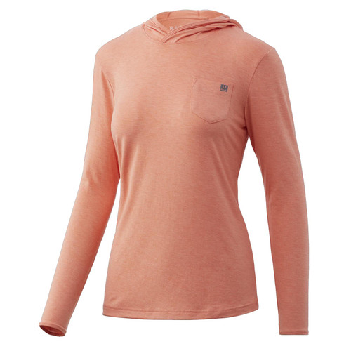 Huk Women's Waypoint Hoodie-Fusion Coral